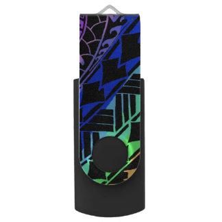 LineA polynesische Tätowierung Mehrfarben Swivel USB Stick 3.0