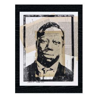Linoleum-Block-Druck-gemischte Medien Chaarles #1 Postkarte