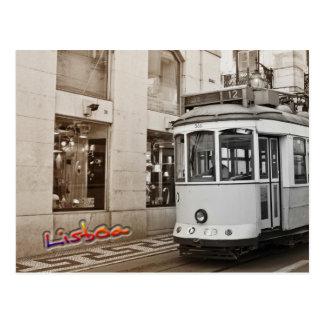 Lissabontram und -farbe postkarte
