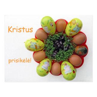 Litauischer Text Kristus Prisikele Ostern-Karte Postkarte