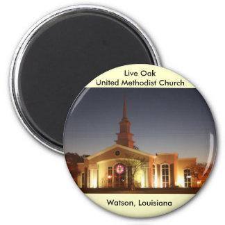 Live Oak-Evangelisch-methodistische Kirche Runder Magnet 5,1 Cm