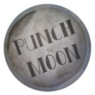 Lochen Sie die Mondprodukte Teller