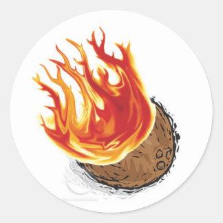 Lodernde Kokosnuss! Runder Aufkleber