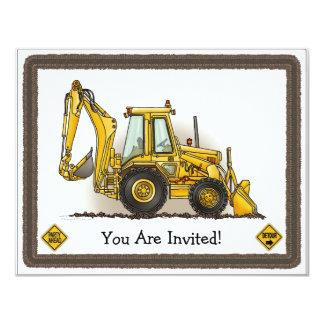 Löffelbagger-Baggerbau scherzt Party Einladung