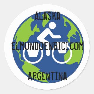 Logo, Alaska - Argentinien, elmundoenbici.com Runder Aufkleber