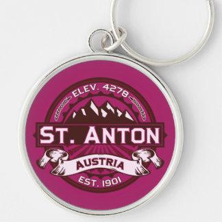 Logo St. Anton Silberfarbener Runder Schlüsselanhänger