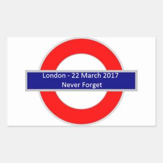London am 22. März 2017 vergessen nie Rechteckiger Aufkleber