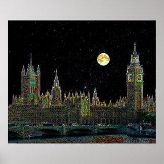 London-Parlaments-Skyline nachts mit Dummkopf-Mond Poster
