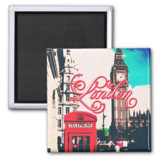 London-Sehenswürdigkeit-Vintages Foto Quadratischer Magnet