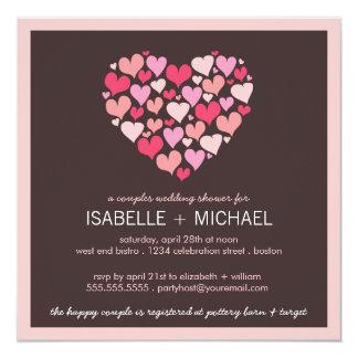 Lose der Herz-Paar-Polterabend-Einladung Quadratische 13,3 Cm Einladungskarte