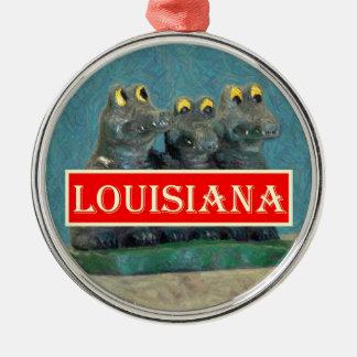 Louisiana-Alligatoren, die 1.jpg malen Rundes Silberfarbenes Ornament