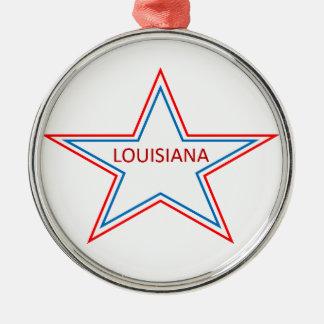 Louisiana in einem Stern Rundes Silberfarbenes Ornament