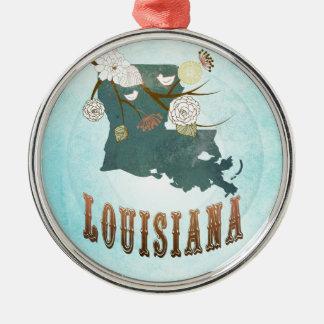 Louisiana-Karte mit reizenden Vögeln Rundes Silberfarbenes Ornament