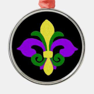Louisiana-Lilie (Karneval) .jpg Rundes Silberfarbenes Ornament