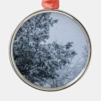 Louisiana-Schnee Rundes Silberfarbenes Ornament