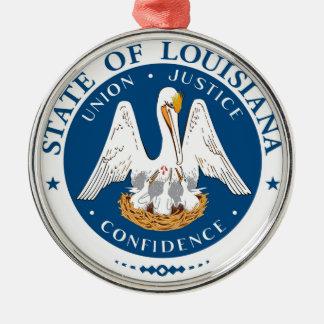 Louisiana-Staatsflagge USA vereinigte Rundes Silberfarbenes Ornament