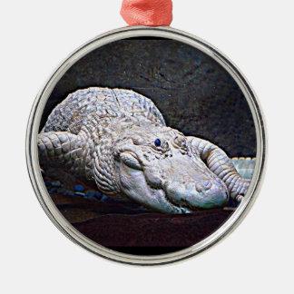 Louisiana-Weiß-Alligator Rundes Silberfarbenes Ornament