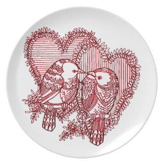Lovebirds Melaminteller