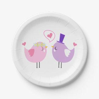 Lovebirds-rosa lila Hochzeit, Brautparty-Liebe Pappteller