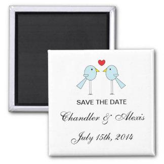 """""""Lovebirds-"""" Save the Date Magneten Quadratischer Magnet"""