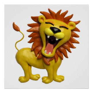 Löwe-Brüllensafari-Baby-Duschen-Kinderzimmer Poster