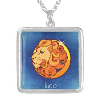 Löwe-Tierkreis-Quadrat-Halskette Versilberte Kette