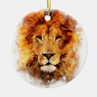 Löwe Wasserfarbe Rundes Keramik Ornament