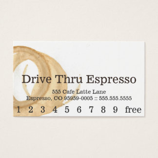 Loyalty News Font Coffee Stain Punchcard Visitenkarten