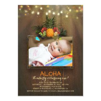 Luau Ananas-tropisches 1 Baby-Geburtstags-Foto 12,7 X 17,8 Cm Einladungskarte