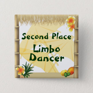 Luau Party-an zweiter Stelle Quadratischer Button 5,1 Cm