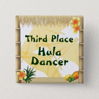 Luau Party-dritter Platz Hula Tänzer-Preis-Knopf Quadratischer Button 5,1 Cm