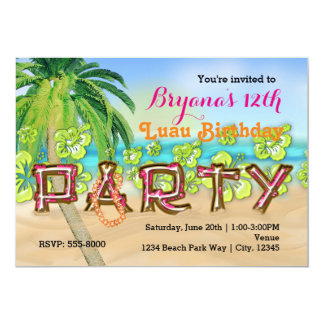 Luau Strand PARTY Typografie-Geburtstags-Einladung Karte