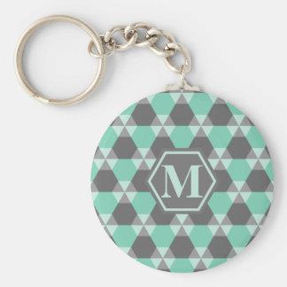Lucite grüne und graue Dreieck-Hexe Keychain Standard Runder Schlüsselanhänger