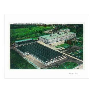 Luftaufnahme von Goodyear-Zeppelin Herstellung Postkarte
