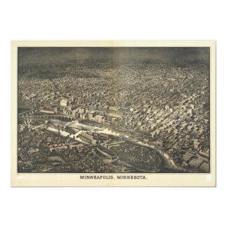 Luftaufnahme von Minneapolis, Minnesota (1885) Karte