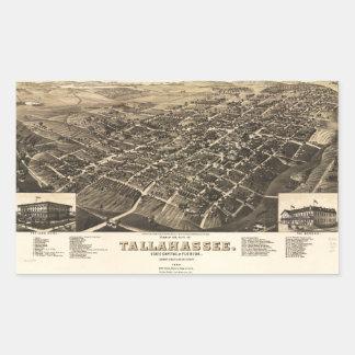 Luftaufnahme von Tallahassee, Florida (1885) Rechteckiger Aufkleber