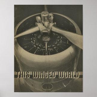 Luftfahrt-Flugzeug-Motor-Zeitschrift-Kunst-Druck Poster