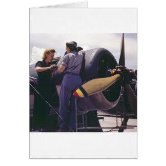 Luftfahrt-Mechaniker der Frauen-WW2 Grußkarte