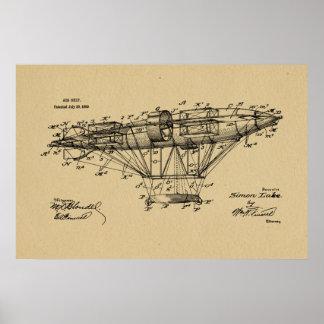 Luftschiff Aeroship Patent 1909, das Kunst-Druck Poster