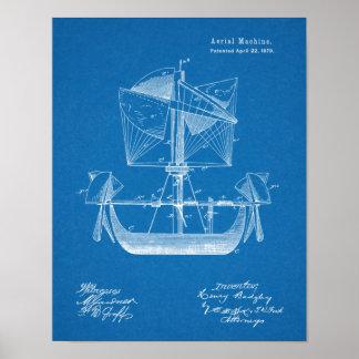 Luftschiff-Boots-Flugzeug-Patent 1879, das Druck Poster