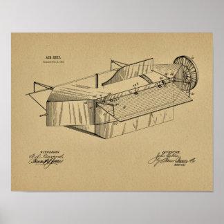 Luftschiff-Flugzeug-Patent-Kunst 1891, die Druck Poster