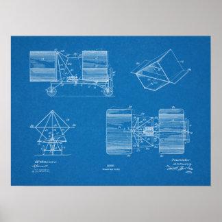 Luftschiff-Flugzeug-Patent-Kunst 1911, die Druck Poster