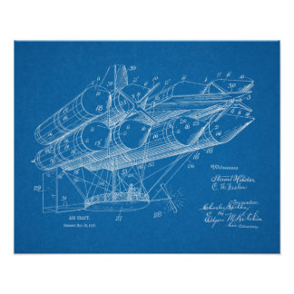 Luftschiff-Flugzeug-Patent-Kunst 1912, die Druck Poster