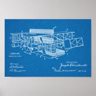 Luftschiff-Flugzeug-Patent-Kunst 1915, die Druck Poster