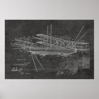 Luftschiff-Flugzeug-Patent-Kunst 1921, die Druck Poster