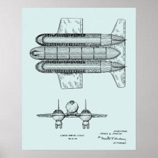 Luftschiff-Flugzeug-Patent-Kunst 1950, die Druck Poster