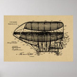Luftschiff-Patent 1908, das Kunst-Druck zeichnet Poster