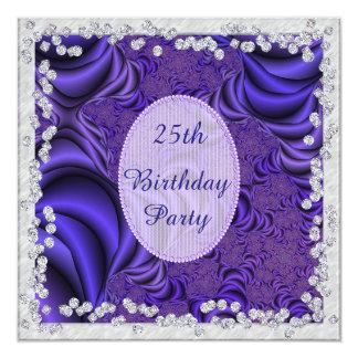 Luscious Flieder u. Diamant-25. Geburtstags-Party Quadratische 13,3 Cm Einladungskarte