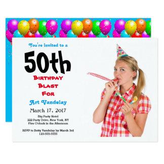 Lustige 50. Geburtstags-Explosions-Einladung 12,7 X 17,8 Cm Einladungskarte