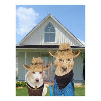 Lustige amerikanische gotische Hunde/Labradore Postkarten